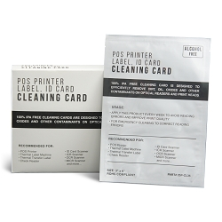 Thermal Label Printer POS Terminal Cleaning Cards - 3 x 6 Alcohol Free 25 Cards