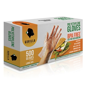 500 Poly Disposable Kitchen Gloves Large, BPA Free, Food Grade