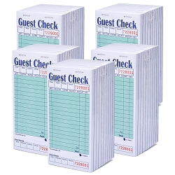 2500 Heavyweight Guest Check CT-G3632 1 Part, Perforated, Green, 3.4 x 6.73