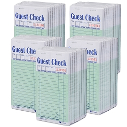 2500 Guest Check CT-G6000 2 Part Carbon, Perforated, Green, 3.4 x 6.73