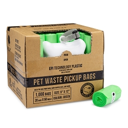 Gorilla Supply 1000 Green Pet Poop Waste Bags, EPI Technology, 50 Refill Rolls with Dispenser
