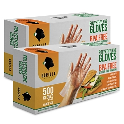 1000 Poly Disposable Kitchen Gloves Large, BPA Free, Food Grade, Large