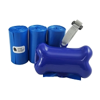 Gorilla Supply 60 Blue Pet Poop Waste Bags with Blue Dispenser, EPI Technology, 3 Refill Rolls