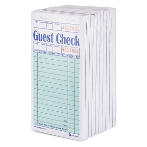 5000 Standard Guest Check CT-G3616 1 Part Bond, Perforated, Green, 3.4 x 6.73