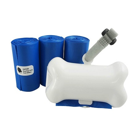 Gorilla Supply 60 Blue Pet Poop Waste Bags with White Dispenser, EPI Technology, 3 Refill Rolls