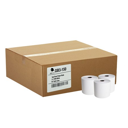 (50) 3 x 150' 1-Ply White Bond Paper Rolls