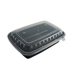 50 Food Containers with lid (16 oz) - Reusable BPA Free Plastic, Microwave, Freezer, & Dishwasher Safe, Black